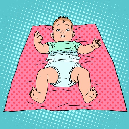 child care: Surprised baby in a diaper. Childhood and child care. Pop art retro style Illustration