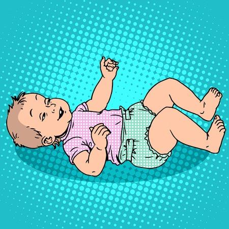 Joyful kid in the diaper. Childhood and motherhood. Pop art retro style Illustration