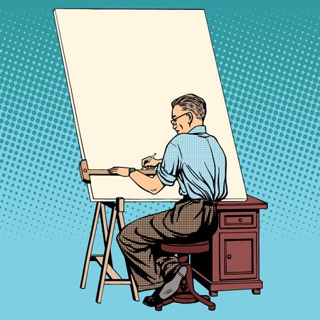 asian art: Scientist designer asian engineer working drawings pop art retro style Illustration