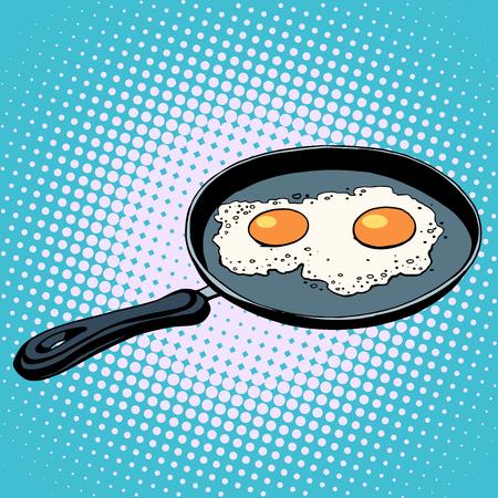 Sartén con huevos fritos terminó plato del arte pop del estilo retro Foto de archivo - 46970144