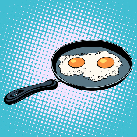 Frying pan with fried eggs finished dish pop art retro style Illustration