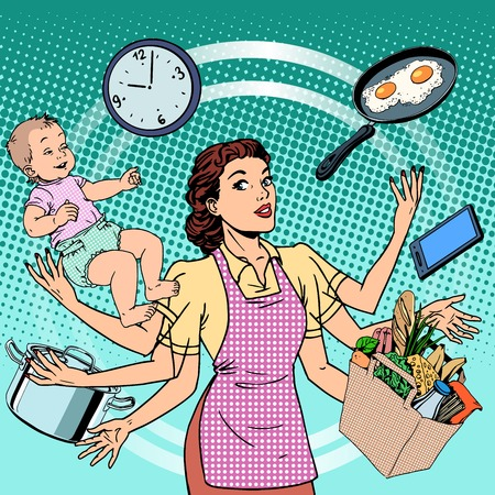 cooking utensils: Housewife work time family success woman pop art retro style. A woman plans the time and manages to do everything around the house. Child care, work via smartphone, cooking, household chores. Illustration