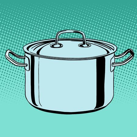 boiling water: metal saucepan cookware pop art retro style