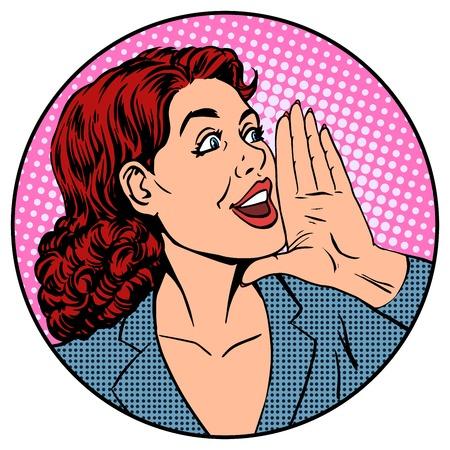 Woman businesswoman calling advertises agitates pop art retro style Vectores