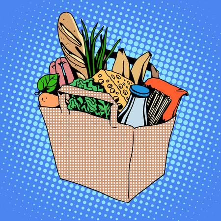 cartoon bottle: Grocery bag full of food cheese milk bread fruit greens sausage onion meat macaroni cabbage salad baguette bun pop art retro style Illustration