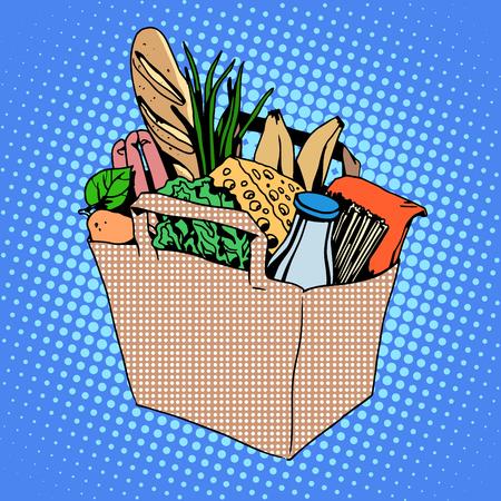 torby z jedzeniem pełne mleko ser jedzenie owoców chleba zieleni Mięso wędliny cebula kapusta makarony sałatki Bagietka kok w stylu pop art retro
