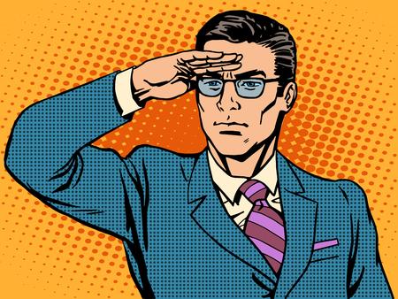 Líder empresario vigilante espera. El hombre blanco de mediana edad con gafas. El concepto de negocio de un jefe éxito Ilustración de vector