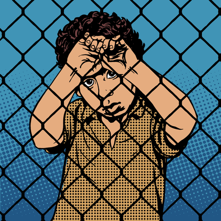 migrant: Child boy refugee migrants behind bars the prison boundary pop art retro vintage style. International Migrants Day 18 December