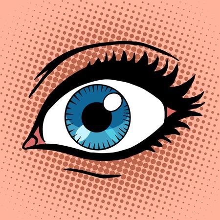 vintage anatomy: Beautiful female eye with make-up pop art retro vintage style