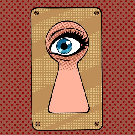 Look through the keyhole snooping and curiosity pop art retro vintage style