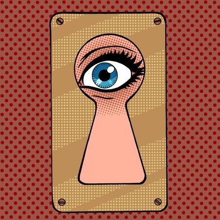 Mire por el espionaje y la curiosidad del arte pop del ojo de la cerradura de estilo retro de la vendimia Ilustración de vector