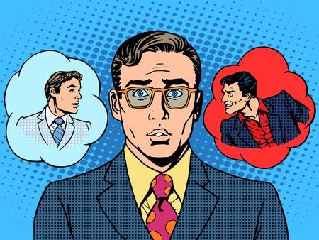 Diabeł Anioł biznesmen wybór między dobrem a złem sztuki pop stylu retro vintage
