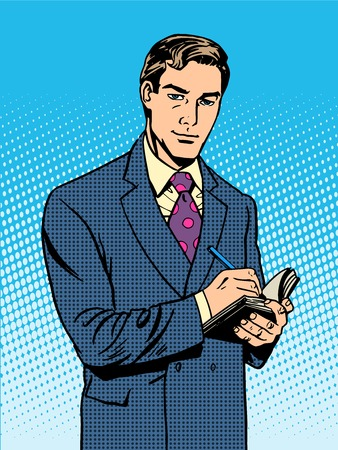 listener: Male businessman with a notebook pop art retro vintage style