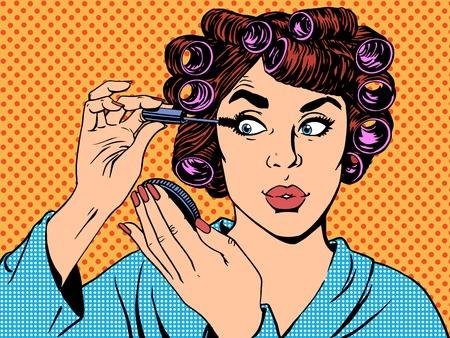 woman perms makeup hair beauty morning pop art retro vintage style
