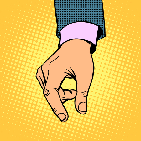 contribution: take contribution gesture hand business concept pop art retro style
