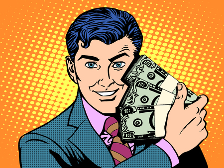 Rich with wads of dollars. The business concept of financial success pop art retro style