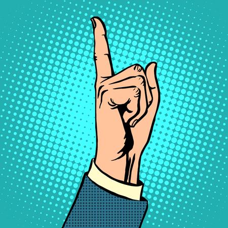 dedo apuntando: Atención gesto pulgar hacia arriba. Concepto de negocio jefe el puntero del estilo del arte pop retro