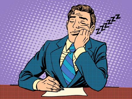 arte moderno: Informe aburrido. Un hombre se qued� dormido en conferencias estilo del arte pop retro Vectores