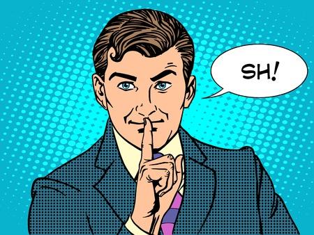 Stille Geheimnis Geheimnis Business-Konzept Retro-Stil Pop-Art. Der Mann fordert Stille Vektorgrafik