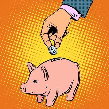 Piggy Bank contribution money pop art retro style. Banking Deposit business concept Reklamní fotografie - 47522432
