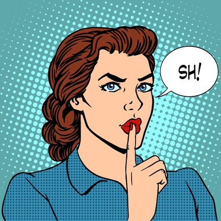 Top secret silence businesswoman concept pop art retro style. Beautiful woman put her finger to her lips, calling for silence