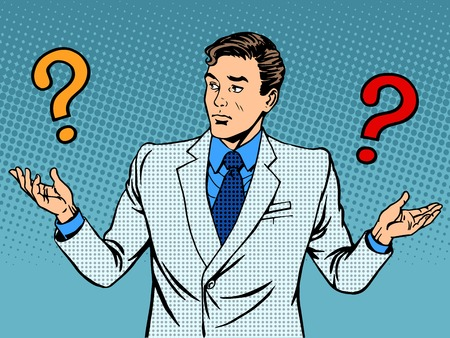 question concept: Questions businessman misunderstanding pop art retro style