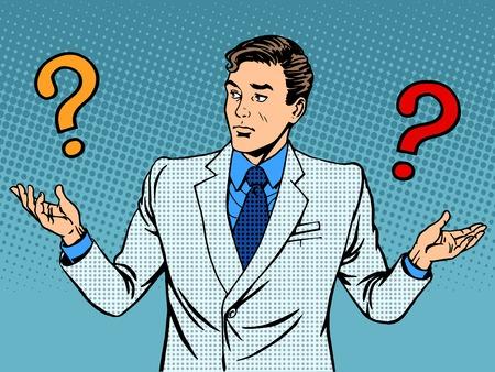 Vragen zakenman misverstand pop art retro-stijl Stock Illustratie