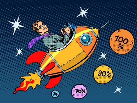 Space closeout business concept growth in sales and interest pop art retro style