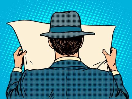 historietas: hombre de negocios la lectura de un periódico pop del estilo del arte retro. Mañana media Noticias