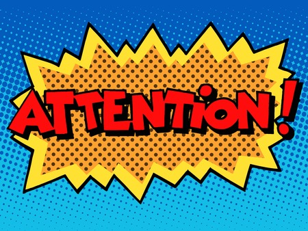 attention inscription comic book style pop art retro