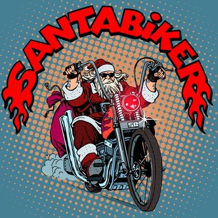 santa clos: Santa Claus del motorista de la motocicleta regalos de Navidad estilo del arte pop retro