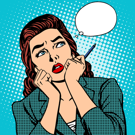 retro cartoon: woman thinks work businesswoman pop art retro style
