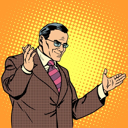 mature men: Boss welcome business concept pop art retro style. Welcome a grown man welcomes visitors. Experienced businessman Illustration