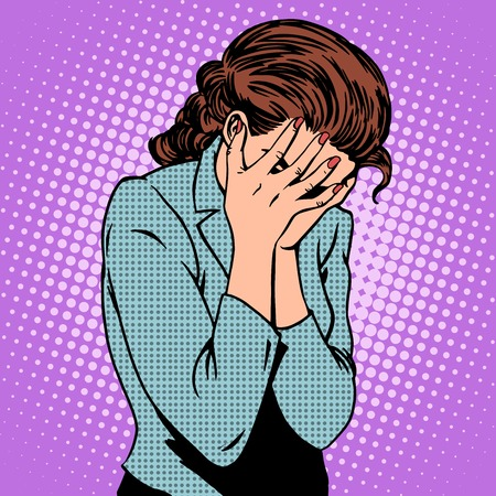 grief: Weeping woman emotions grief pop art retro style
