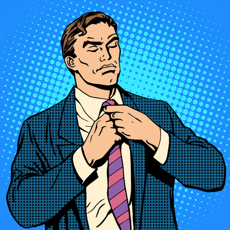 stubbornness: The proud man businessman pop art retro style. Man tying his tie Illustration