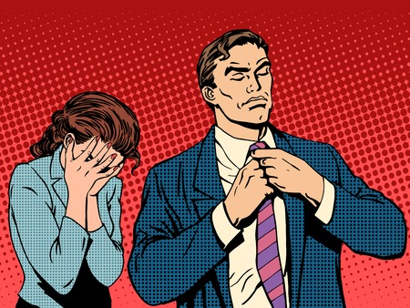 crying eyes: Family quarrel man leaves woman cries pop art retro style