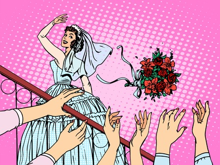 romance: Wedding bride bouquet flowers bridesmaid woman. Beautiful girl in white wedding dress standing on the stairs and throws flowers into the hands of the wedding guests. Love fun romance pop art retro style