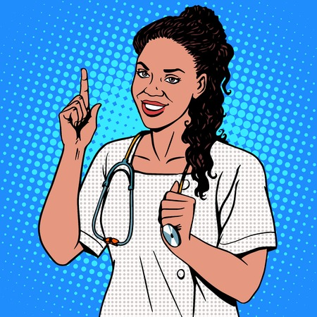 pop: Female doctor of African. The adult doctor the therapist smiles. The profession of medicine and health pop art retro style Illustration