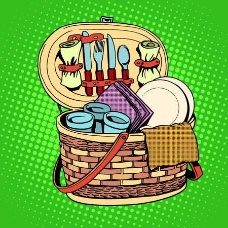 basket: The Breakfast picnic basket nature pop art retro style. Cutlery, food and nutrition