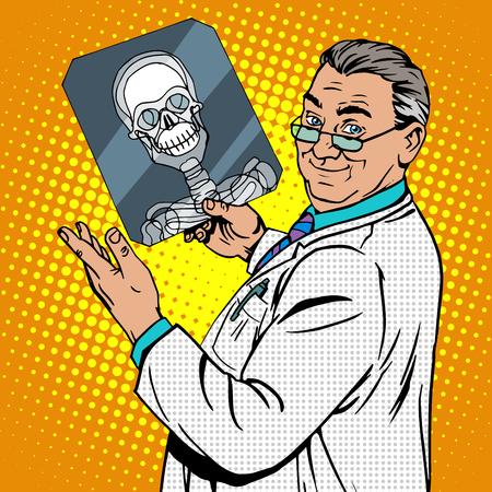 concussion: doctor surgeon x-rays skull. Medicine and health pop art retro style Illustration