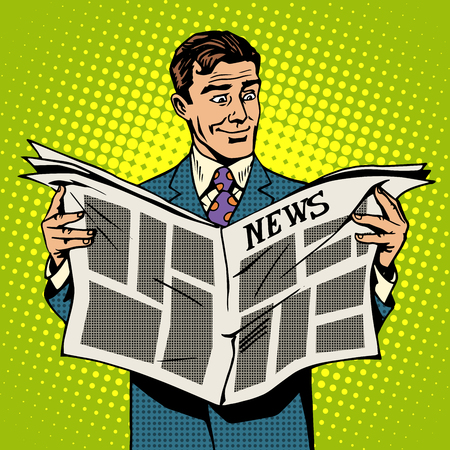 reads: Man businessman reading news newspaper pop art retro style
