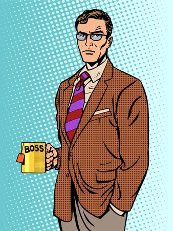 patron: estilo retro hombre de negocios serio jefe de la taza del té del arte pop