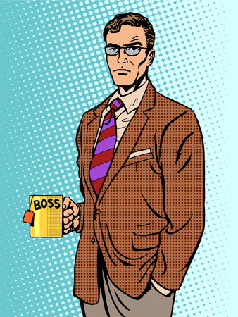 Serious businessman boss mug tea pop art retro style Illustration