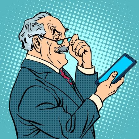 노인은 노인 사업가 새로운 태블릿 팝 아트 복고 스타일 가젯