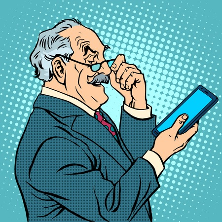 old technology: old man gadgets elderly businessman new tablet pop art retro style Illustration