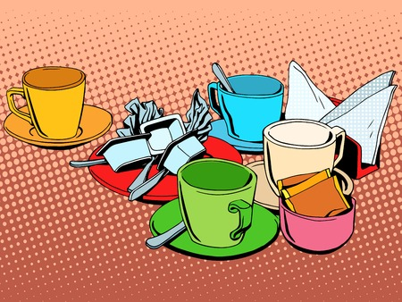 Coffee table with cups pop art retro style Illustration