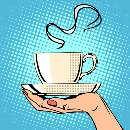 Hot coffee cup woman hand pop art retro style