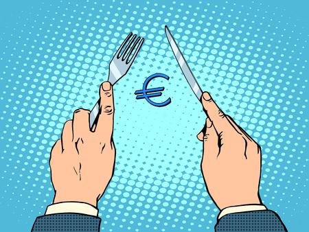 european euro: European Euro knife and fork financial concept pop art retro style. European politics and Economics business Illustration