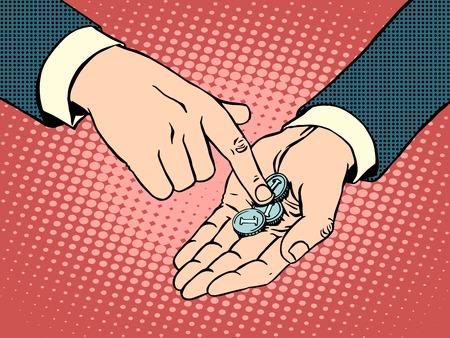 pobreza: Las pequeñas monedas en su mano estilo del arte pop retro. Concepto de negocio colapso financiero y la pobreza Vectores