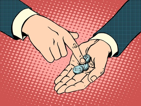 The little coins in his hand pop art retro style. Business concept financial collapse and poverty